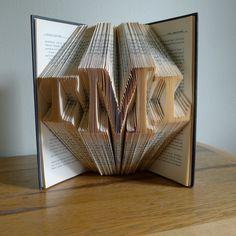 Monogrammed Gifts - Handmade - Gifts for Men - Gift for Her -  Gift for Boss - Custom -  Folded Book Sculpture -. $85.00, via Etsy.