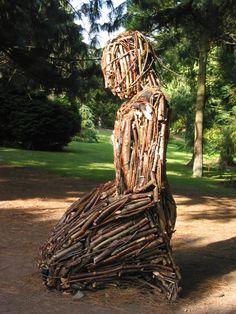 Environmental sculpture made from wood sticks by Linda Brunker. Title 'Elemental'. Botanic Gardens, Dublin, Ireland. Sculpture Projects, Wood Sculpture, Environmental Sculpture, Wood Sticks, Dublin Ireland, Writing Prompts, Botanical Gardens, Irish, Deco