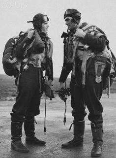 """Sgt John J """"Jack"""" Mooney (left) and P/O Donald W """"Mac"""" McLeod are pictured at RAF Kirton-in-Lindsey on 28 November Both were members of No 121 Squadron RAF, the second Eagle Squadron, formed with volunteer pilots from the United States in May."""