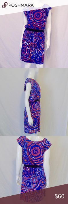 Lilly Pulitzer Blue Pink Floral Print Dress Size L Lilly Pulitzer Blue Pink Purple White Orange Floral Print Dress Size L. Cap Sleeve. Blouson.  Slight pilling. Lilly Pulitzer Dresses