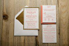 Coral and gold wedding invitation, 2014 wedding trends, glitter wedding invitations