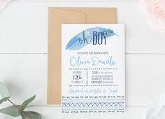 Baby Shower Invitation boy Tribal invitation boho by lovelypapershop