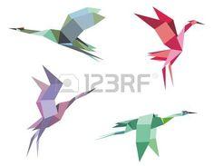 Краны и цапли птиц в стиле оригами бумага для экологического или другой дизайн photo