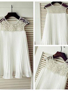 A-line Knee-length Flower Girl Dress - Chiffon Short Sleeve - USD $59.99