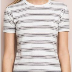 Brandy Melville Jamie top White t shirt with light grey, brown and navy stripes. No trades, PayPal, etc. Brandy Melville Tops