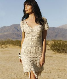 Crochet dress PATTERN for sizes S-XXL, detailed tutorial in English for every row.