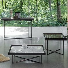 Low coffee table for living room SLASH Dark Table, Low Coffee Table, Drawer Design, Slash, Contemporary Furniture, Polished Chrome, Console Table, Outdoor Tables, Living Room Designs