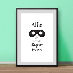 Personalised nursery print. Our Little Super Hero print for the nursery. The print will be personalised with your name of choice, just let me know the name you would like when you place your order. If you would like a different colour please take a look at the colour chart and let me know when you order.  Most of my prints are now available for you to print at home in my other shop here: www.etsy.com/uk/shop/NordicDesignHouseCo  MY PRINTS  All of my prints are designed inhouse so if you…