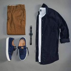 __________________________ by: Styles of Man __________________________ Tap For Brands Oxford Shirt/T-Shirt Trousers: Banana Republic Shoes: Greats Watch: Botta-Design Casual Wear, Casual Outfits, Men Casual, Fashion Outfits, Dress Casual, Casual Shoes, Fashion Clothes, Tennis Outfits, Daily Fashion