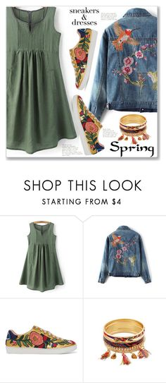 """""""Sporty Chic: Sneakers and Dresses"""" by jecakns ❤ liked on Polyvore featuring Gucci, dress, denimjackets, embellishedjacket, zaful and SNEAKERSANDDRESSES"""