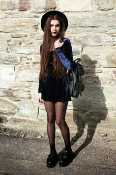 Blue velvet dress - too cute x