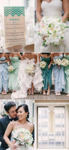 Bridesmaids dresses: aqua/mint/seafoam color scheme also. Really light and breezy