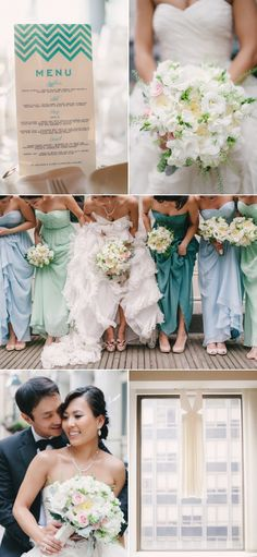 This wedding has a pretty aqua/mint/seafoam color scheme also. Really light and breezy :]