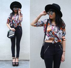 Cheryl G - Topshop Wide Brim Hat, Young Hungry Free Floral Top, H&M Pants, Jump From Paper Jazz Crossbody Bag, Style Dasher Platform Heels - SILK FLOWERS