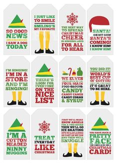 Elf Quote Christmas Gift Tags Printable by CraftyGoode on Etsy Best Christmas Quotes, All Things Christmas, Funny Christmas Movie Quotes, Elf Movie Quotes, Buddy The Elf Quotes, Quotes From Elf, Christmas Vacation Quotes, Christmas Movies List, Christmas Pictures