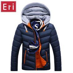 Winter Jacket Men Hat Detachable Warm Coat Cotton-Padded Outwear Men Coats Jackets Hooded Collar Slim Clothes Thick Parkas