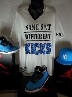 Men's White Sneaker Tee T- shirt designed for Air Jordan 3 III Retro Powder Blue #KickGameUnlimited #GraphicTee
