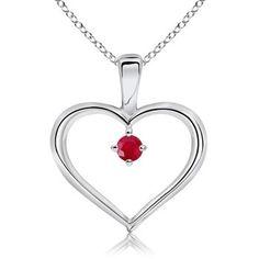 Round Ruby Heart Pendant #Angara