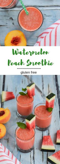 This Watermelon Peach Smoothie will cool you down on these last hot days of summer. Fresh, hydrating and satisfying. {gluten free, vegan} desserts/vegan recipes/nutrition and health/easy vegan lunches/healthy dessert recipes/vegan breakfasts/ Fruit Smoothies, Smoothies Vegan, Juice Smoothie, Smoothie Drinks, Peach Smoothie Recipes, Smoothies With Watermelon, Watermelon Cake Ideas, Recipes With Watermelon, Lactose Free Smoothies