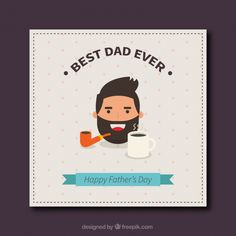 #Father'sday #greeting #card in #flat #design #Free #Vector