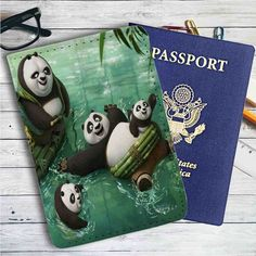 Kung Fu Panda Swimming Family Leather Passport Wallet Case Cover
