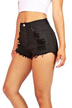 Slicker High Waist Shorts High waisted color denim shorts with distressing on the front with fraying edges. Traditional 5 pockets zip fly and button closure. Runs small. High Waisted Ripped Shorts, Distressed High Waisted Shorts, Distressed Denim, Cute Casual Outfits, Short Outfits, Summer Outfits, Teen Fashion, Fashion Outfits, Womens Fashion