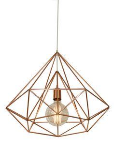 Himmeli Light Diamond Cage pendant Geometric Copper by panselinos