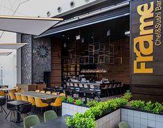 Sushi Bar Design, Central Bar, Basalt Stone, Sushi Chef, Wine Display, Wooden Shutters, Outdoor Seating Areas, Japanese Design, Cafe Design