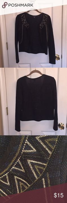 Beautiful Black and Blue Jacket Worn once, if that. Looks great with jeans over a blouse or cami. Knit material American Eagle Outfitters Jackets & Coats Blazers