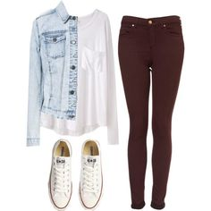 White blousy shirt, jean jacket, maroon pants and white tennies. perfect casual outfit!