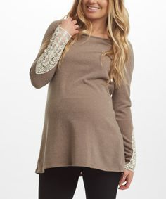 Love this PinkBlush Mocha Lace-Sleeve Maternity Top on #zulily! #zulilyfinds