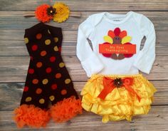 First Thanksgiving ruffle Bloomer set/ Turkey Day Bloomer set/ Yellow satin bloomer set/ Baby Girls First Thanksgiving outfit/ Photoprop on Etsy, $55.00