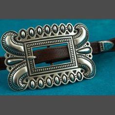 Native Amercian Silver Belt Buckle Clendon Pete