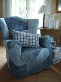 Blue jean slipcover! I must do this.