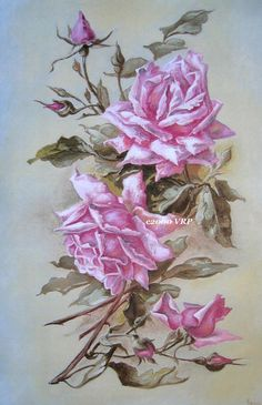 Print FREE SHIP Gorgeous Pink Cabbage Roses by VictorianRosePrints, $10.99