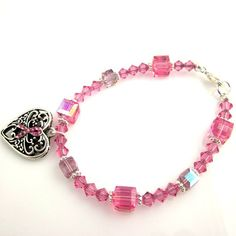Pink Ribbon Beaded Bracelet Breast Cancer Awareness by ramonahall, $45.00