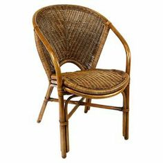 """Naturally-finished rattan arm chair with a woven wicker seat and back.      Product: Chair     Construction Material:   Rattan    Color:   Natural       Features:  Ships fully assembled  Woven rattan bindings Woven seat does not require cushions   Dimensions:  32"""" H x 23"""" W x 28"""" D"""