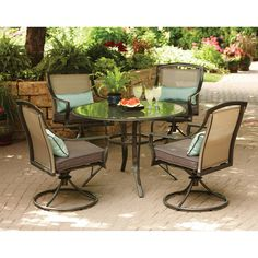 Aqua Glass 5-Piece Patio Dining Set, Seats 4