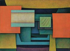 Gunther Gerszo (1915-2000)  Legendary Landscape (Azul y Naranja), 1964, 23 3/4 x 32 in., Sotheby's (sold for $77,675 in 2002)
