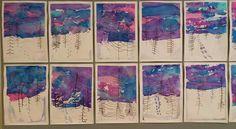 Kakkosluokkalaisten pakkasmaisemat! Tausta tehtiin silkkipaperipaloja kastelemalla, hanki ja jäljet peiteväreillä ja puut tussilla. Aika ihania! Idea Pinterestistä...mistäpä muualta. ;)(Minna-Liisa Korkeela)