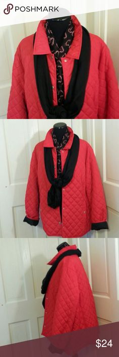 CHRISTMAS PUFFER JACKET RED LADIES 2X LADIES CHRISTMAS RED PUFFER JACKET 2X WESTBOUND WOMAN,  POLYESTER,  MACHINE WASH COLD,  TUMBLE DRY.  5 SNAP FRONT CLOSURE AND 2 FRONT POCKETS WITH SNAP CLOSURES. westbound  Jackets & Coats Puffers