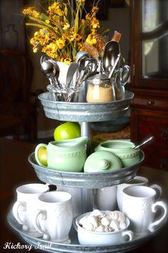 3-tier galvanized tray for coffee service