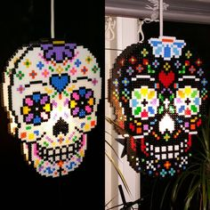 My lamps! #beadaddict #perler #beads #perlerbeads #hama #pärlplatta #fusebeads #rörpärlor #midi #pixel #skull #dayofthedead #sugarskull #gluegun