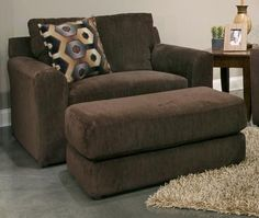 "Sutton Collection 3289-01 2844-09/2845-09 54"" Chair and a Half with Chenille Fabric Upholstery Comfort Coil Seating and Toss Pillow in Chocolate"