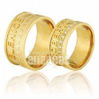 Alianças de Noivado e Casamento em Ouro Amarelo 18k 0,750 - FA-713