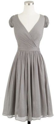 J.Crew Mirabelle Dress In Gray Silk Chiffon - floaty silk chiffon with a delicate crinkled texture, featuring a crossover neckline, Grecian-inspired draping, delicate shirring at the waist and back, cap sleeves, fitted bodice