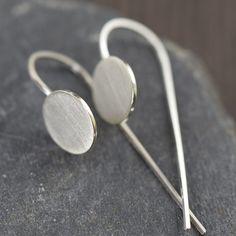 Minimal modern sterling silver disc stick earrings