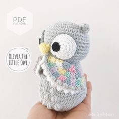 "Excited to share this item from my #etsy shop: AMIGURUMI PATTERN/ tutorial (English) Amigurumi Owl - ""Olivia the Little Owl"" pdf - US terminology Owl Crochet Pattern Free, Plush Pattern, Crochet Patterns Amigurumi, Crochet Toys, Giraffe Crochet, Free Pattern, Yarn Dolls, Fabric Dolls, Owl Quilts"