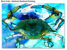 Blue Crab Art Print from Painting Crabs New Orleans Seafood Food Gourmet Beach Ocean CANVAS Ready To Hang Large Artwork FREE Shipping S/H via Etsy