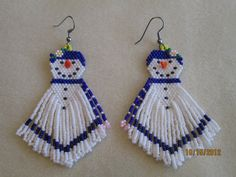 Handmade Christmas Beaded Snowman 3 by EagleplumeCreations on Etsy, #beadwork